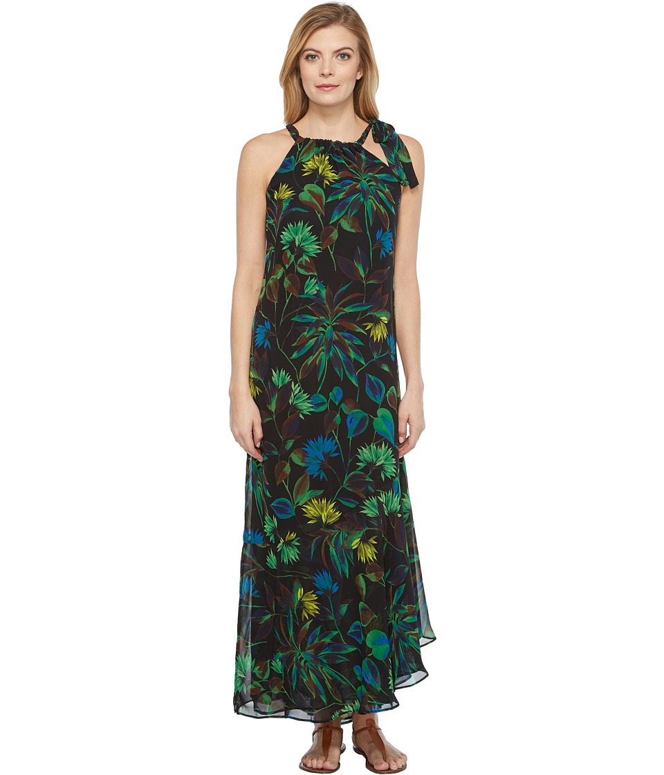 Taylor - Floral Chiffon Shoulder Tie Maxi (Black Multi) Women's Dress