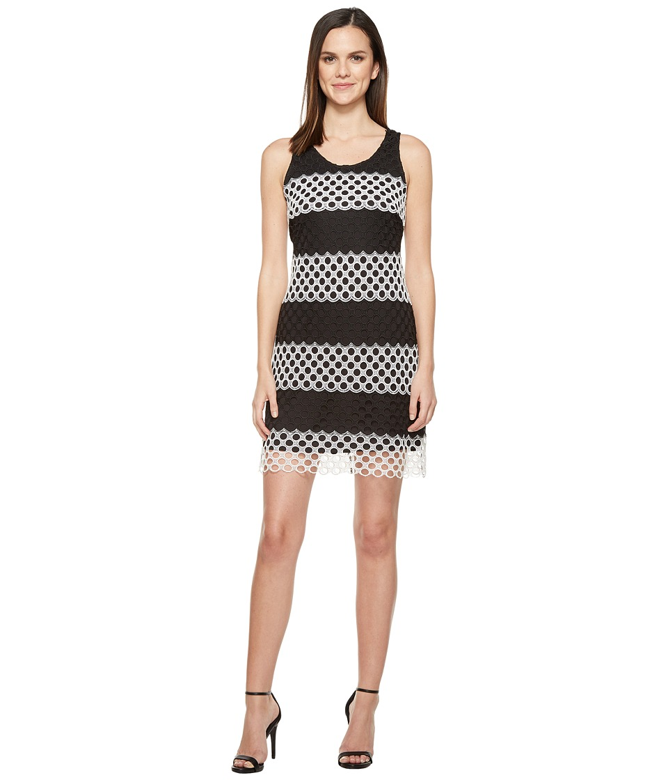 Taylor Chemical Lace Sheath Dress (Black/White) Women