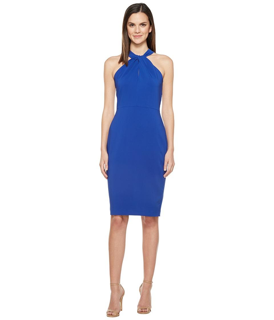 Taylor Halter Knot Neck Stretch Crepe Midi Dress (Lapis) Women