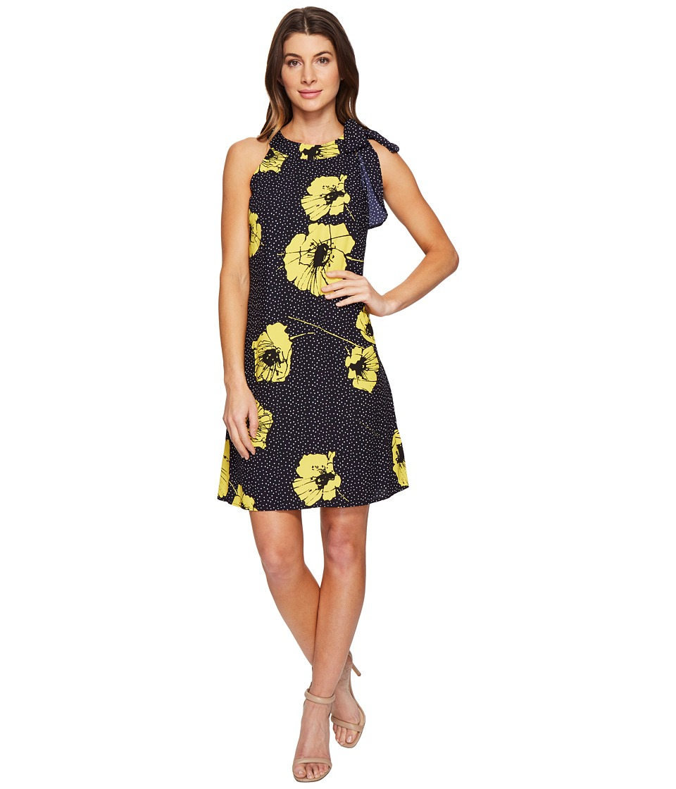 Taylor - Crepe Tie Neck Swing Dress (Navy Sunshine) Women's Dress