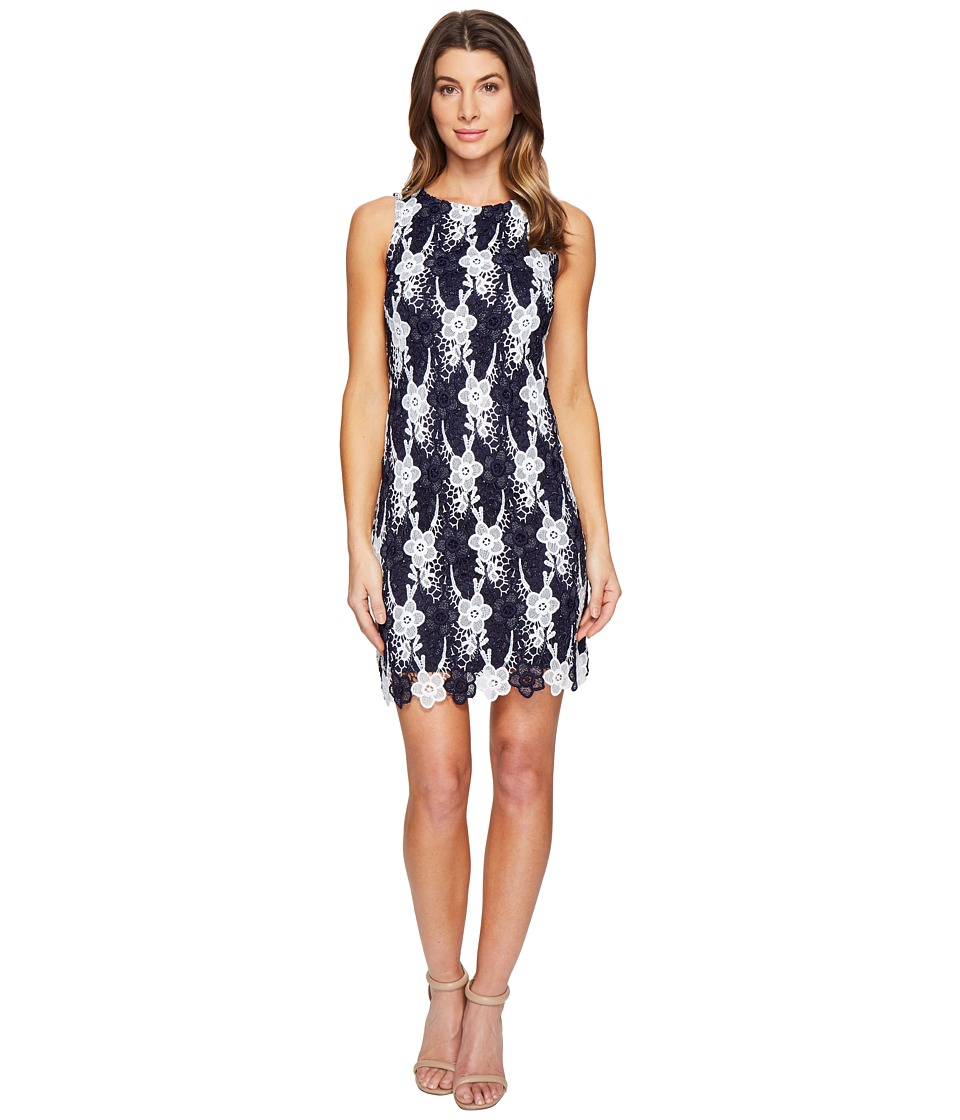 Taylor Chemical Burnout Daisy Sheath Dress (Navy/Ivory) Women