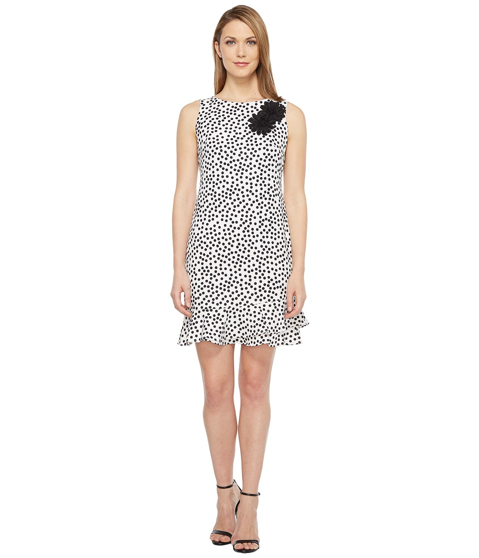 Taylor Stretch Crepe Polka Dot Flounce Sheath Dress (Ivory/Black) Women