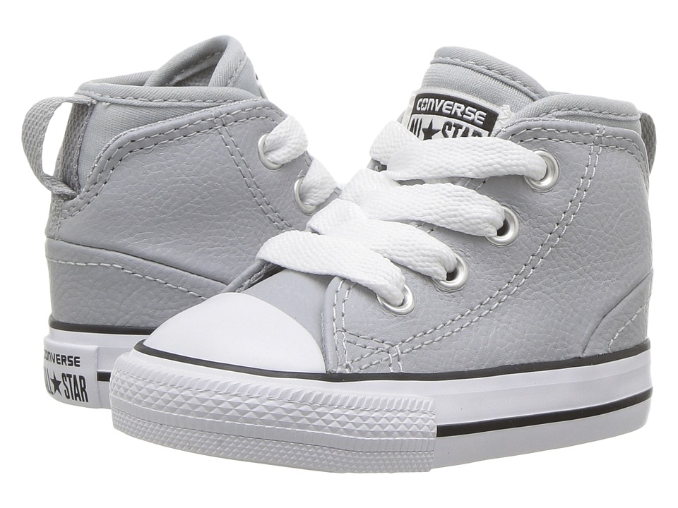 Converse Kids Chuck Taylor All Star Syde Street Leather Mid (Infant/Toddler) (Wolf Grey/Wolf Grey/White) Boy