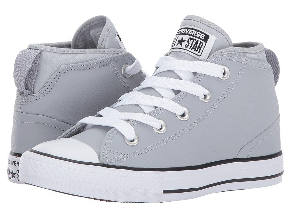 Converse Kids Chuck Taylor All Star Syde Street Leather Mid (Little Kid/Big Kid) (Wolf Grey/Wolf Grey/White) Boy