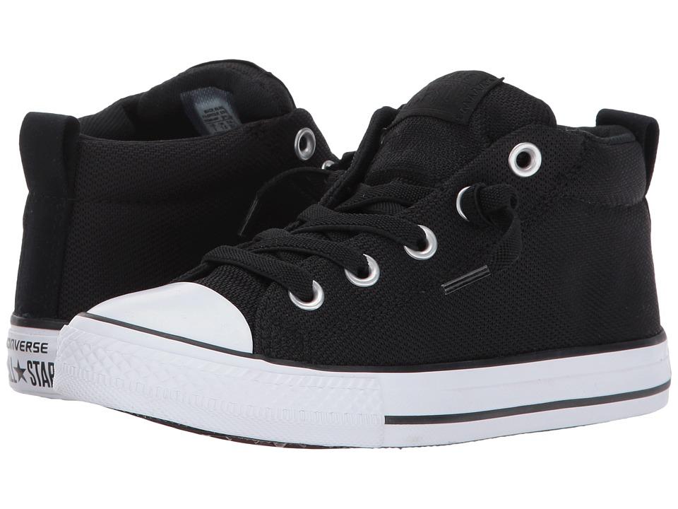 Converse Kids Chuck Taylor All Star Street Basket Weave Mid (Little Kid/Big Kid) (Black/Black/White) Boy