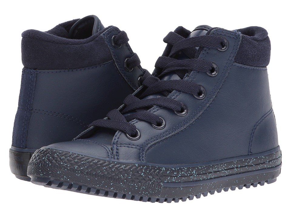 Converse Kids Chuck Taylor All Star Leather Suede Boot PC Hi (Little Kid/Big Kid) (Midnight Navy/Inked/Black) Girl