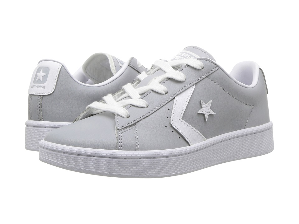 Converse Kids PL 76 Foundational Leather Ox (Little Kid/Big Kid) (Wolf Grey/White/White) Boy