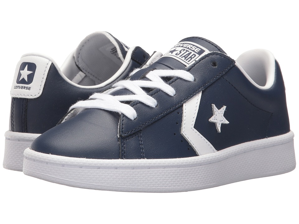 Converse Kids PL 76 Foundational Leather Ox (Little Kid/Big Kid) (Midnight Navy/White/White) Boy