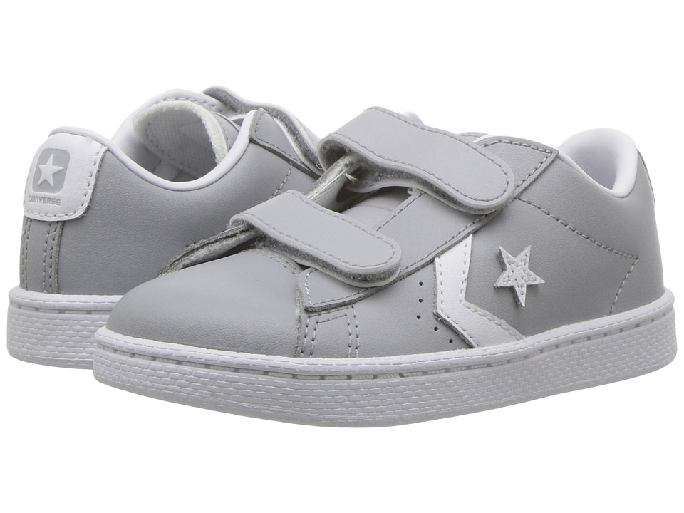 Converse Kids PL 76 Foundational Leather 2V Ox (Infant/Toddler) (Wolf Grey/White/White) Boy