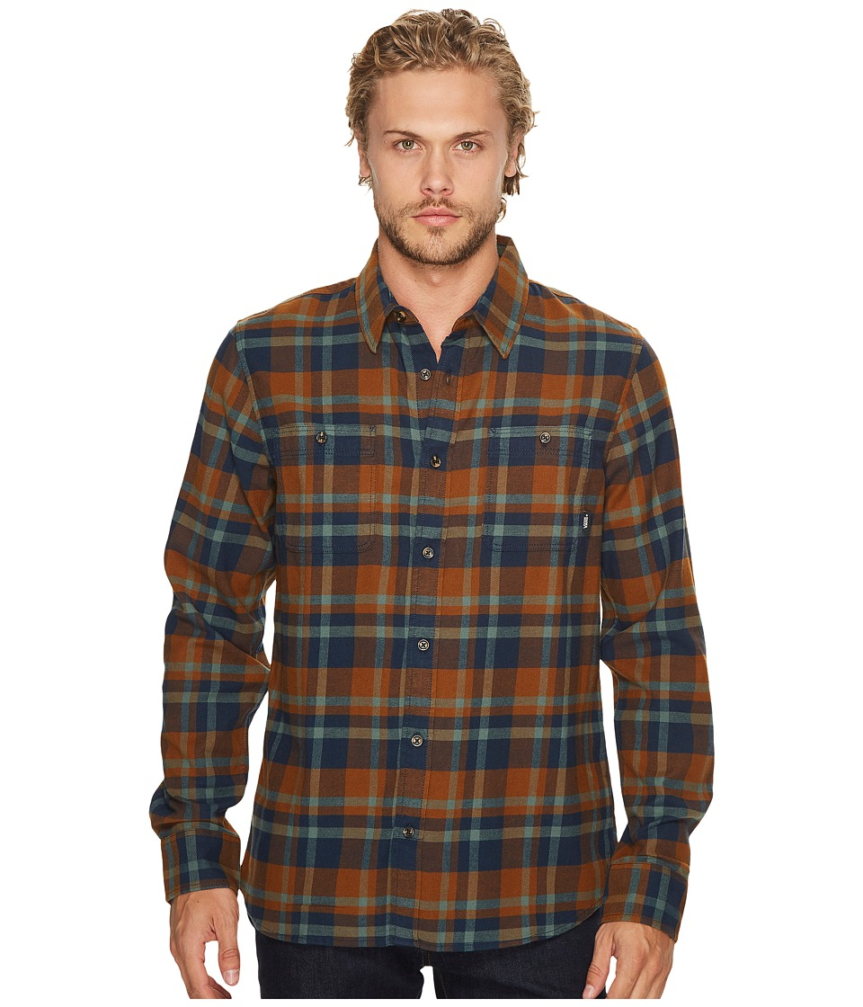 Vans - Banfield II Long Sleeve Woven Top (Dress Blues/Toffee) Men's Long Sleeve Button Up