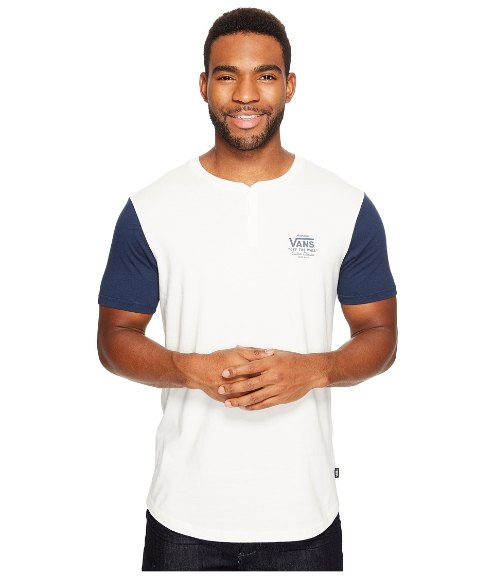 Vans - Hitson II Short Sleeve Henley Top (Marshmallow/Dress Blues) Men's Short Sleeve Knit