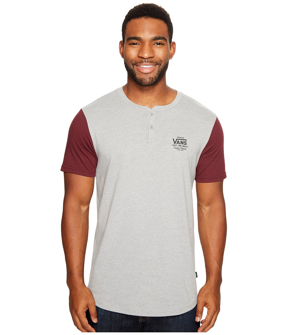 Vans - Hitson II Short Sleeve Henley Top (Cement Heather/Port Royale) Men's Short Sleeve Knit