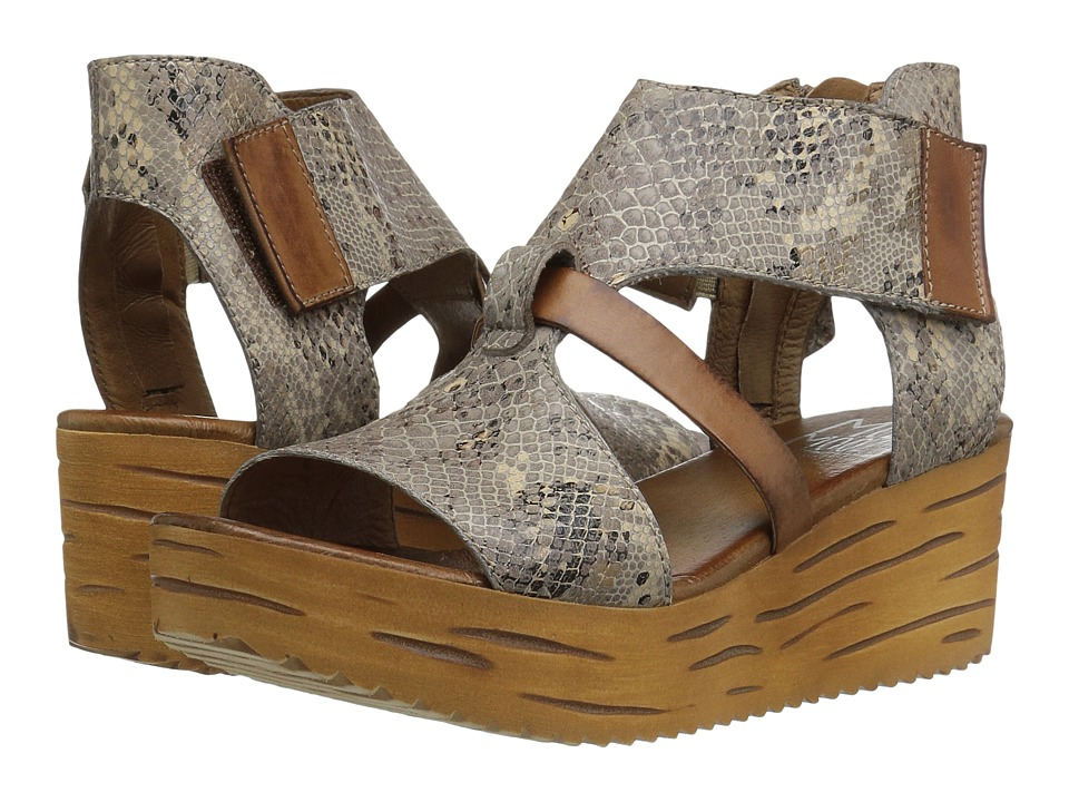 Miz Mooz - Zenon (Stone Snake) Women's Wedge Shoes