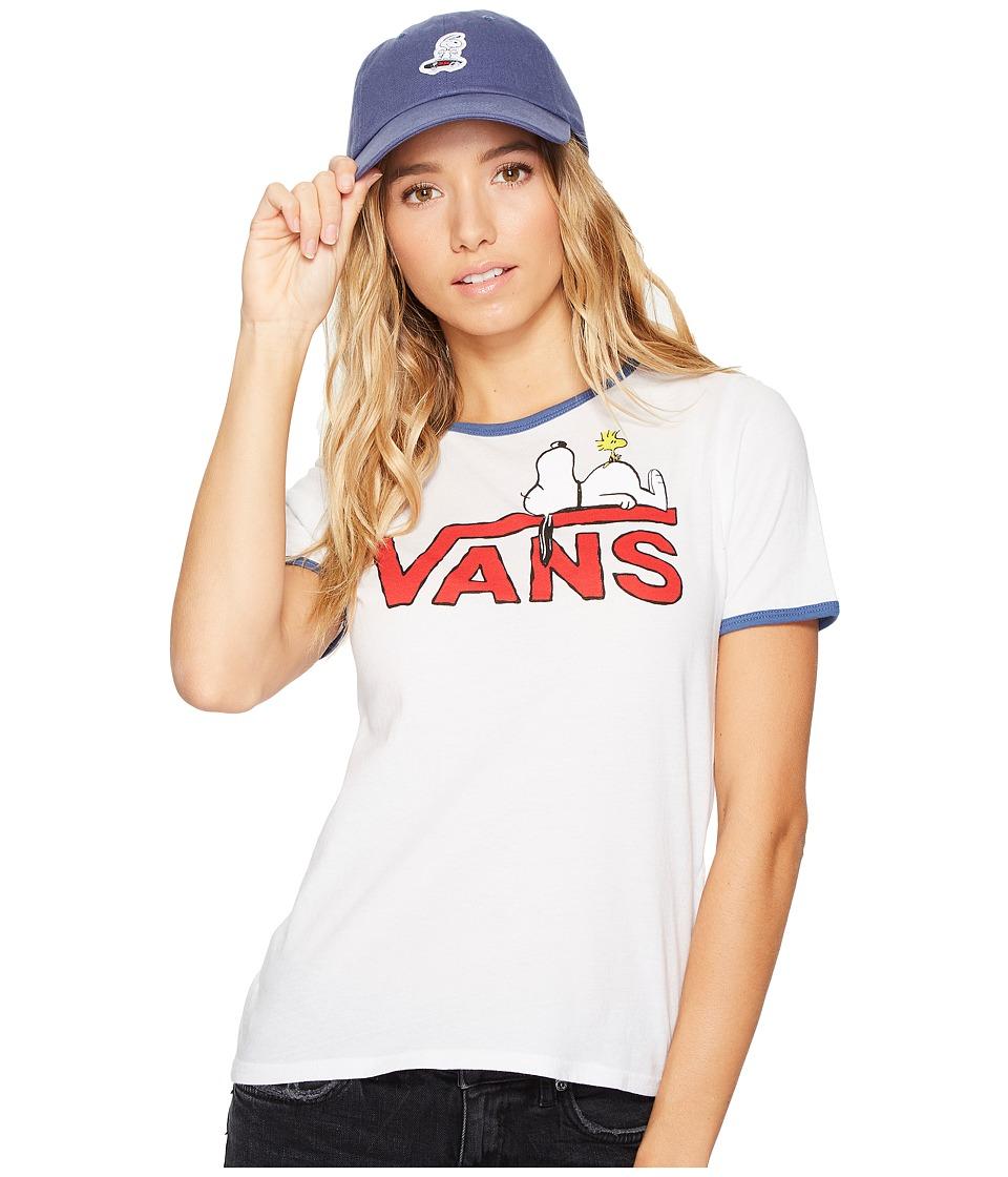 Vans - Snoopy Ringer Tee (White/True Navy) Women's Short Sleeve Pullover