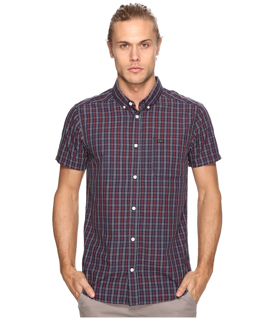 RVCA - That'll Do Plaid 2 Short Sleeve Woven (Federal Blue) Men's Clothing