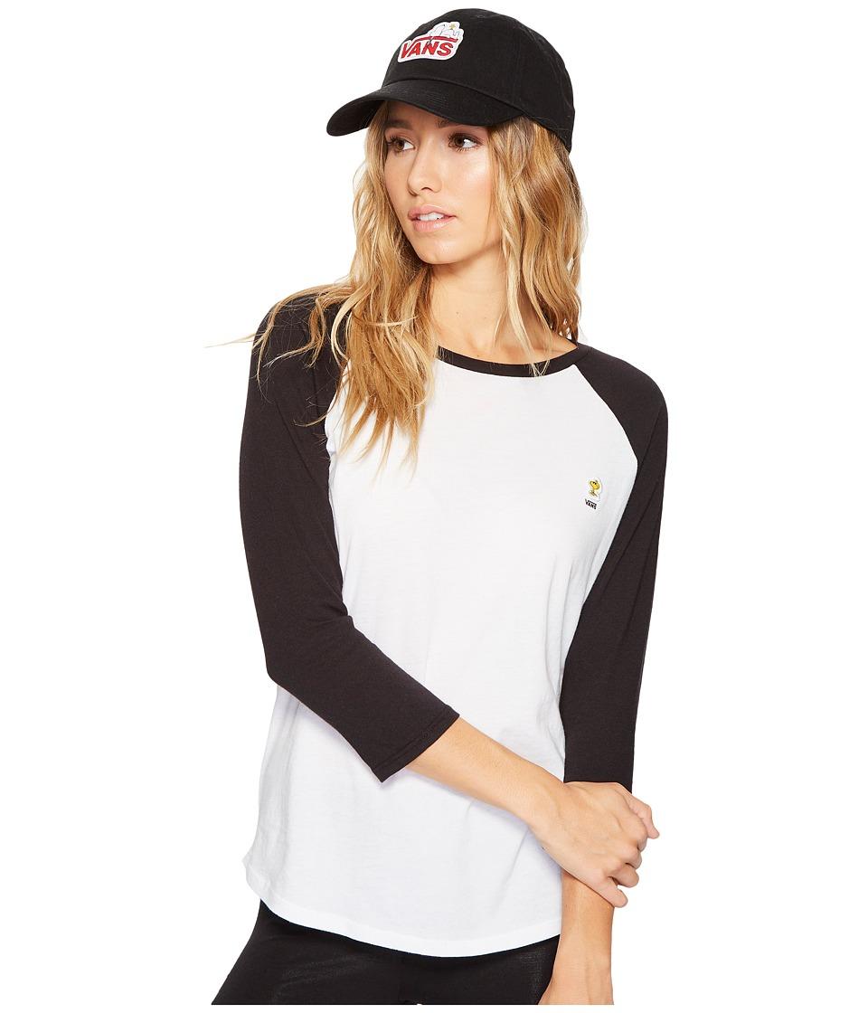Vans - Woodstock Raglan (White/Black) Women's Short Sleeve Pullover