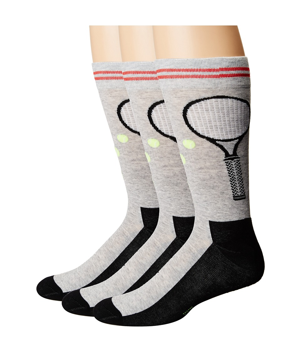 HUE - Tennis Socks with Half Cushion 3-Pack (Light Charcoal Heather Pack) Men's Crew Cut Socks Shoes