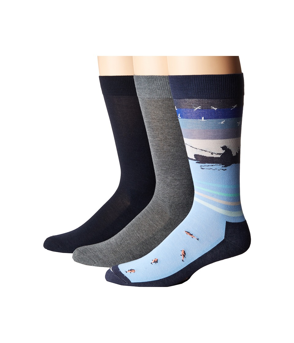 HUE - Fishing Socks with Half Cushion 3-Pack (Nearly Navy Pack) Men's Crew Cut Socks Shoes