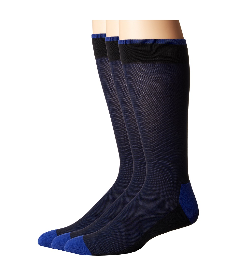 HUE - Pique Socks with Half Cushion 3-Pack (Blue Shock Pack) Men's Crew Cut Socks Shoes