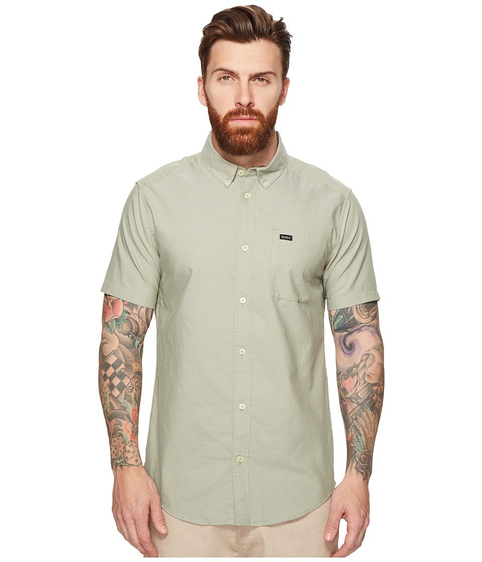 RVCA - That'll Do Oxford Short Sleeve Woven (Cadet Green) Men's Short Sleeve Button Up