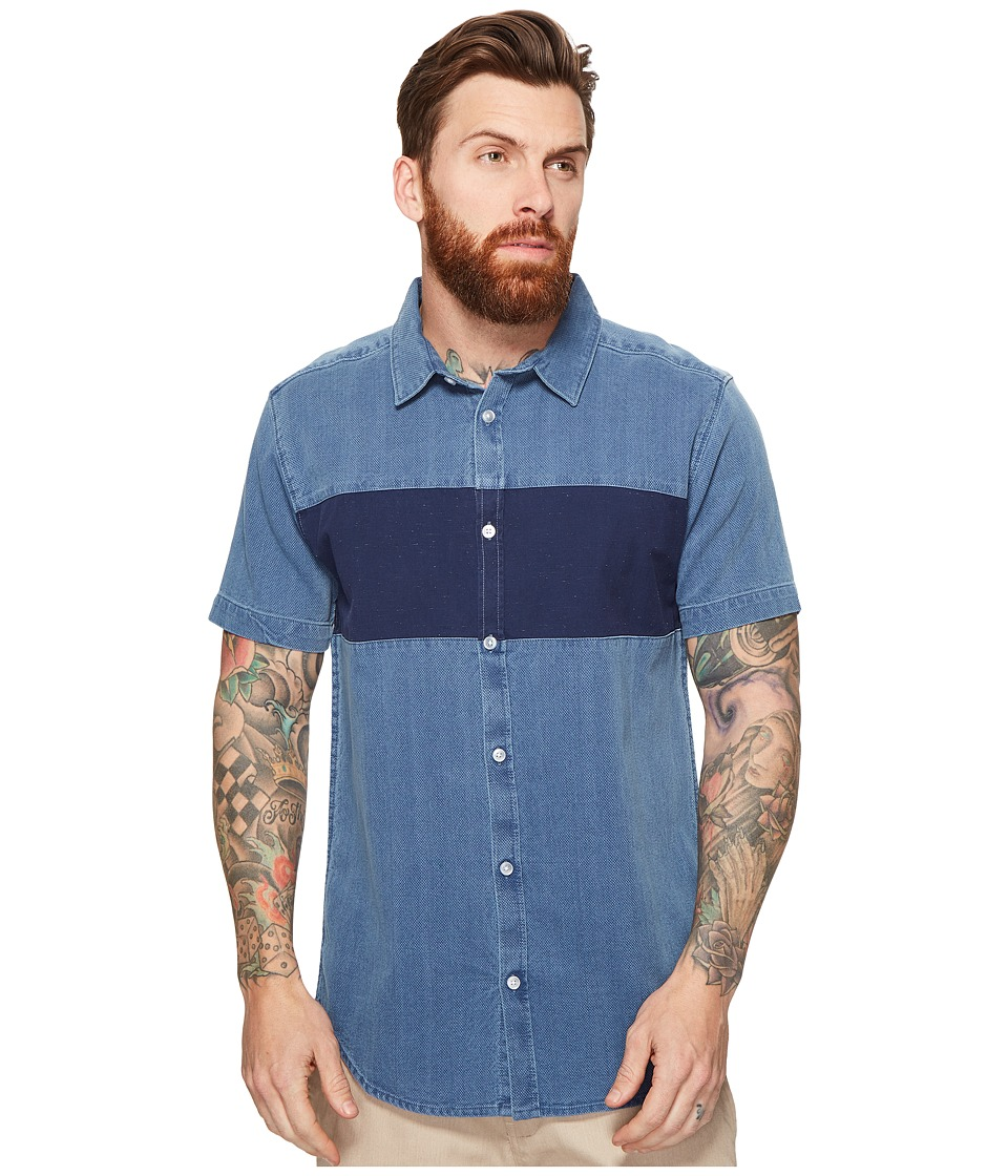RVCA - That'll Do Mix Short Sleeve Woven (Washed Indigo) Men's Clothing