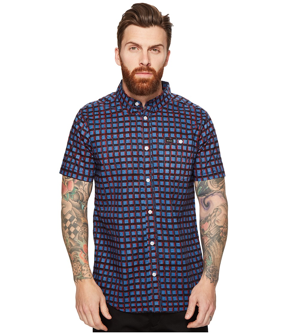 RVCA - Shaded Short Sleeve Woven (Dark Blue) Men's Clothing