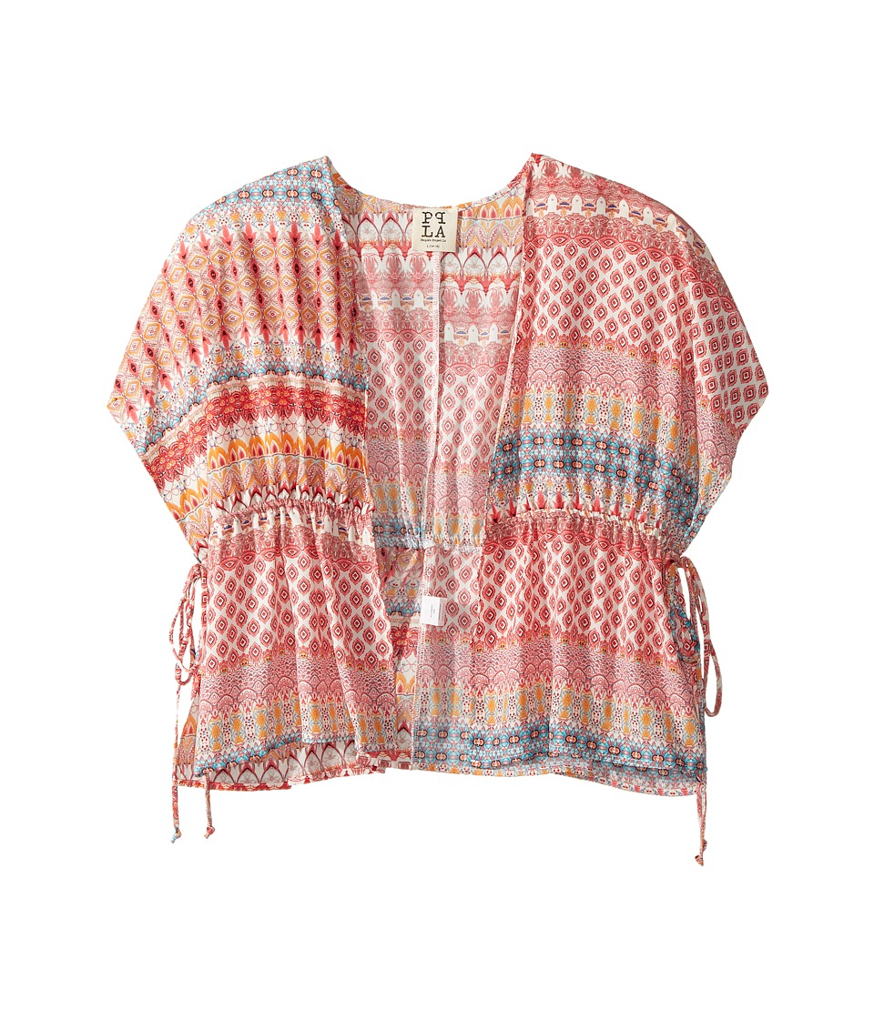 People's Project LA Kids - Zilla Kimono Printed Woven Cardigan (Big Kids) (Pink) Girl's Sweater