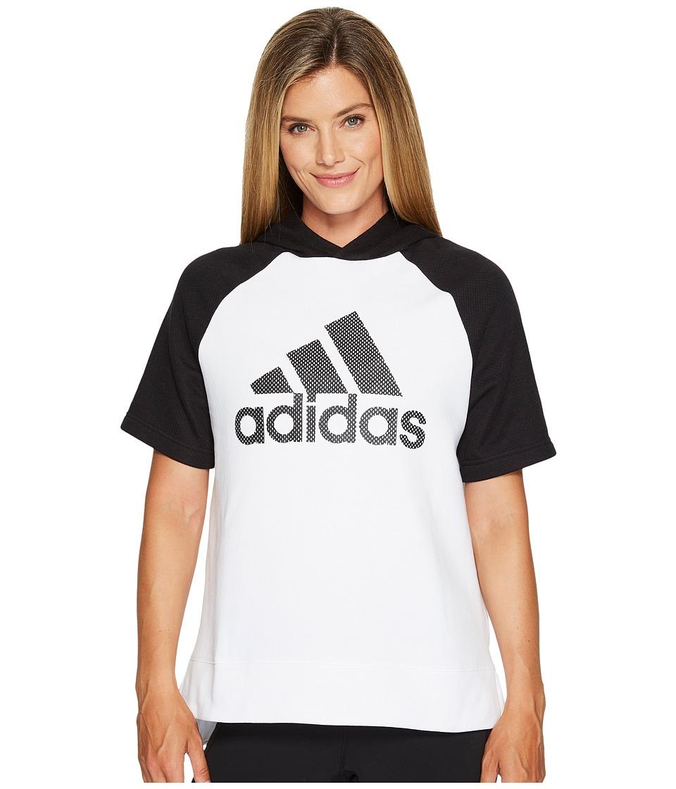 adidas - Fashion Hoodie (White/Black/Black) Women's Sweatshirt