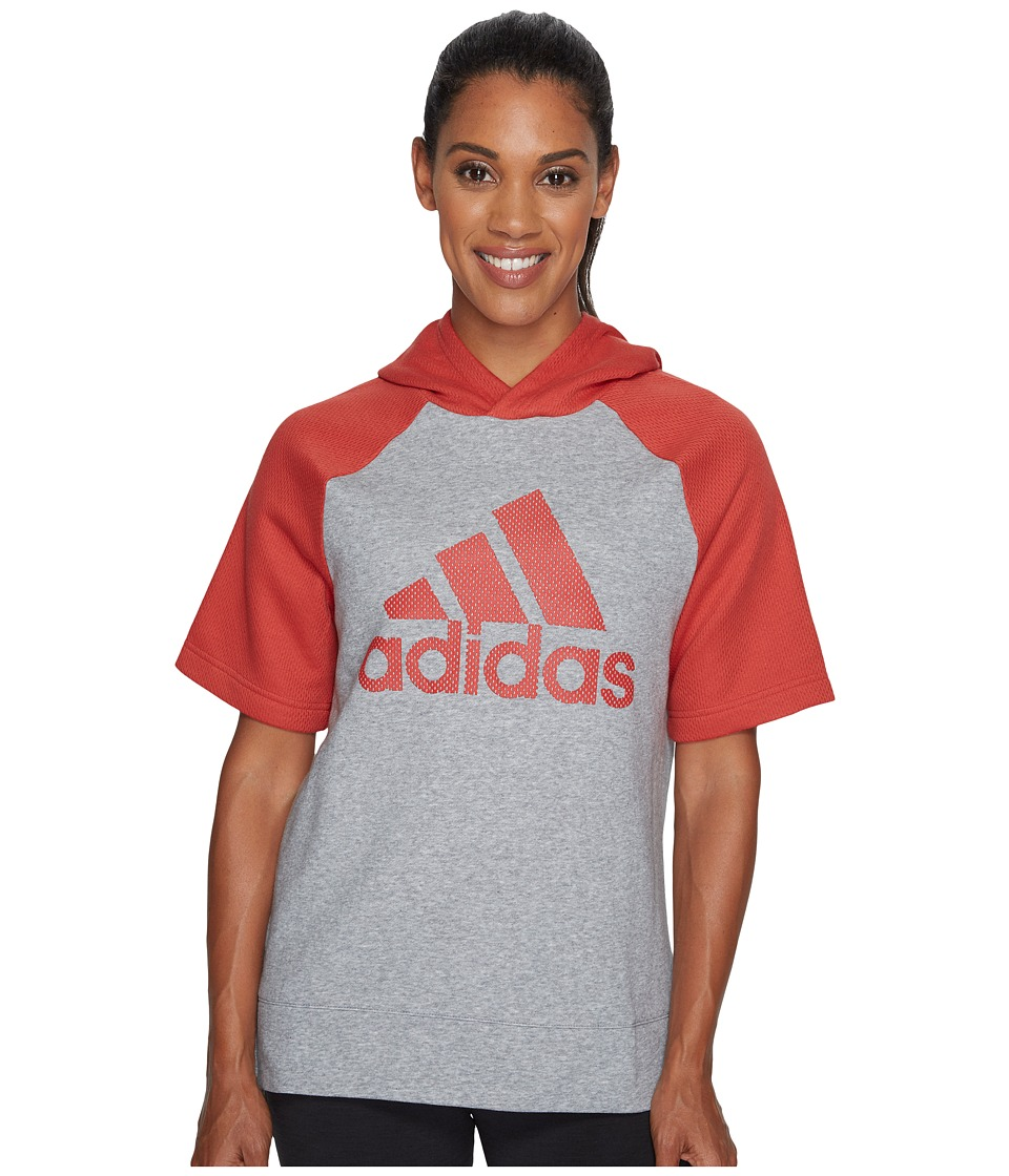 adidas - Fashion Hoodie (Medium Grey Heather/Tactile Red F17/Tactile Red F17) Women's Sweatshirt