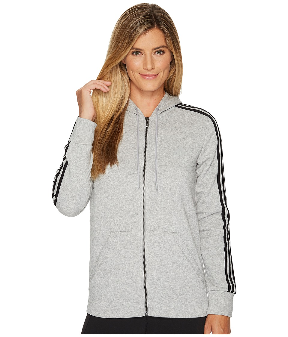 adidas - Essentials Cotton Fleece 3S Full Zip Hoodie (Medium Grey Heather/Black) Women's Sweatshirt