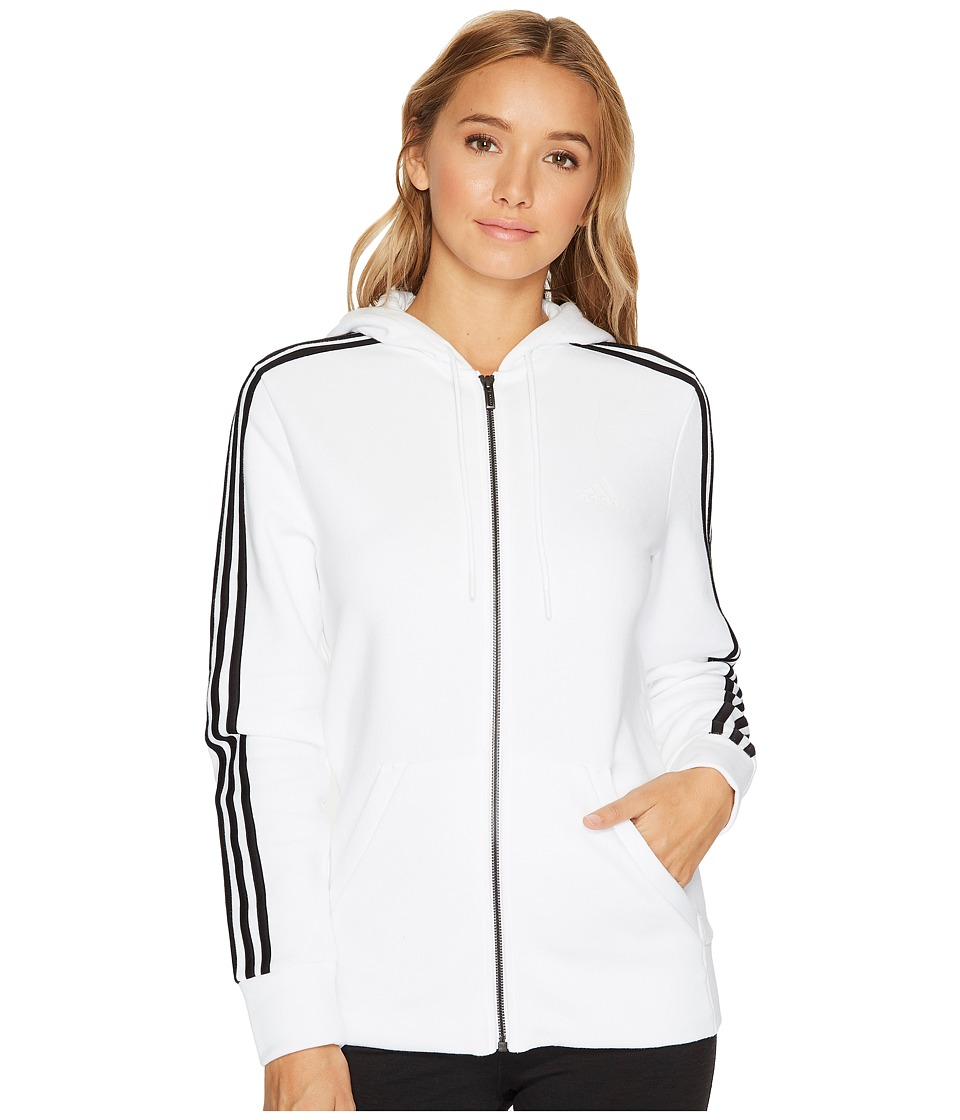 adidas - Essentials Cotton Fleece 3S Full Zip Hoodie (White/Black) Women's Sweatshirt