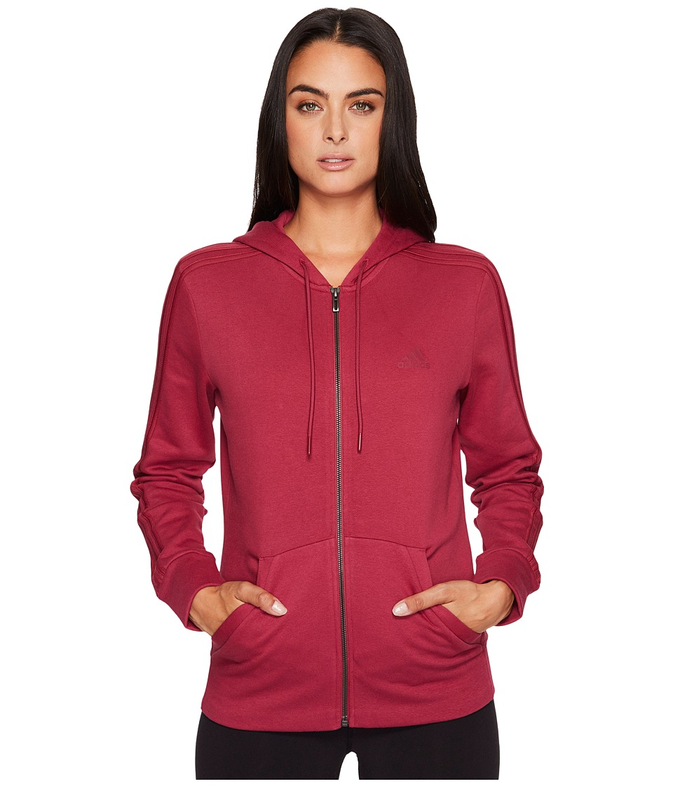 adidas Essentials Cotton Fleece 3S Full Zip Hoodie (Mystery Ruby F17/Mystery Ruby F17) Women