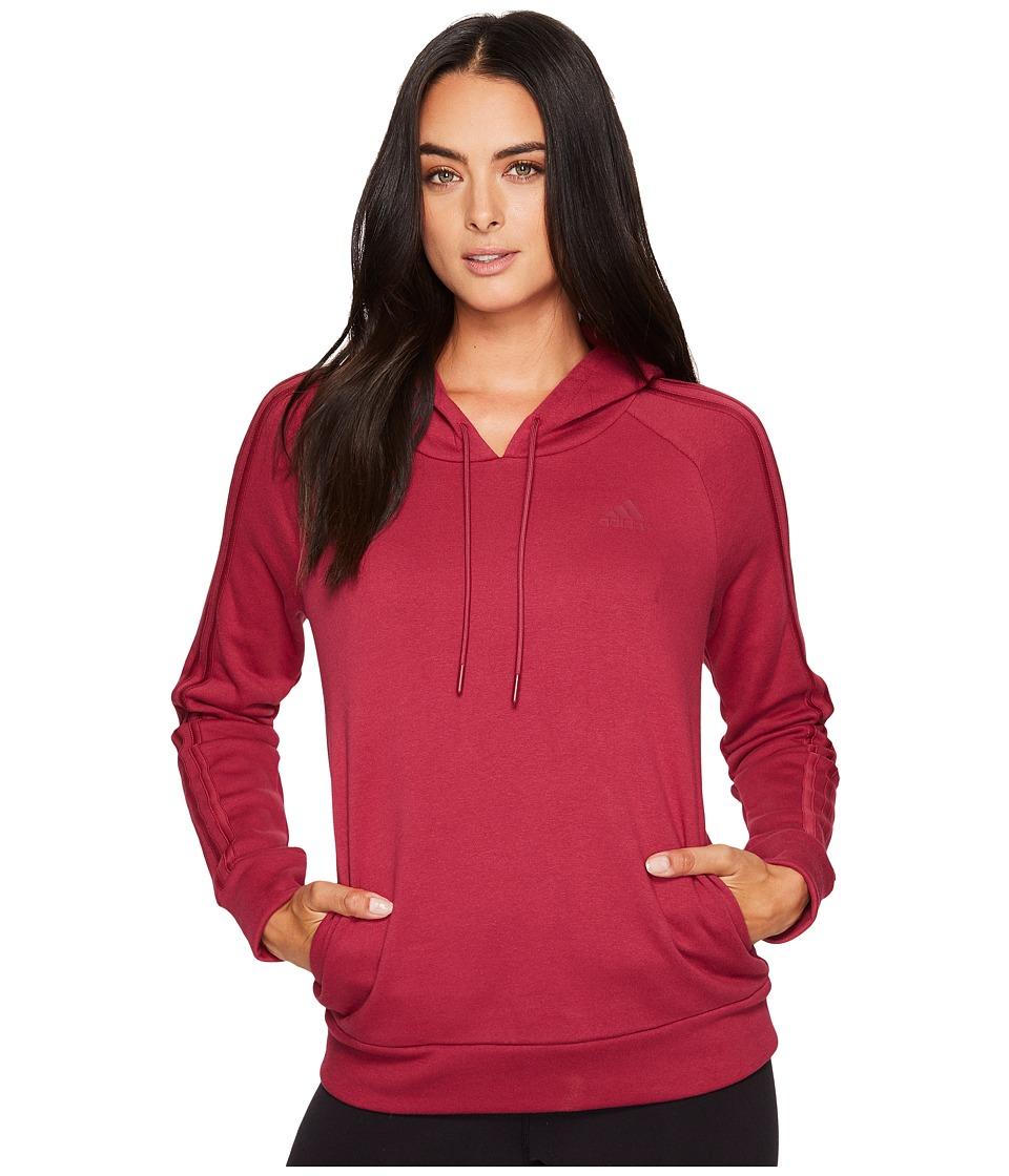 adidas - Essentials Cotton Fleece 3S Over Head Hoodie (Mystery Ruby F17/Mystery Ruby F17) Women's Sweatshirt