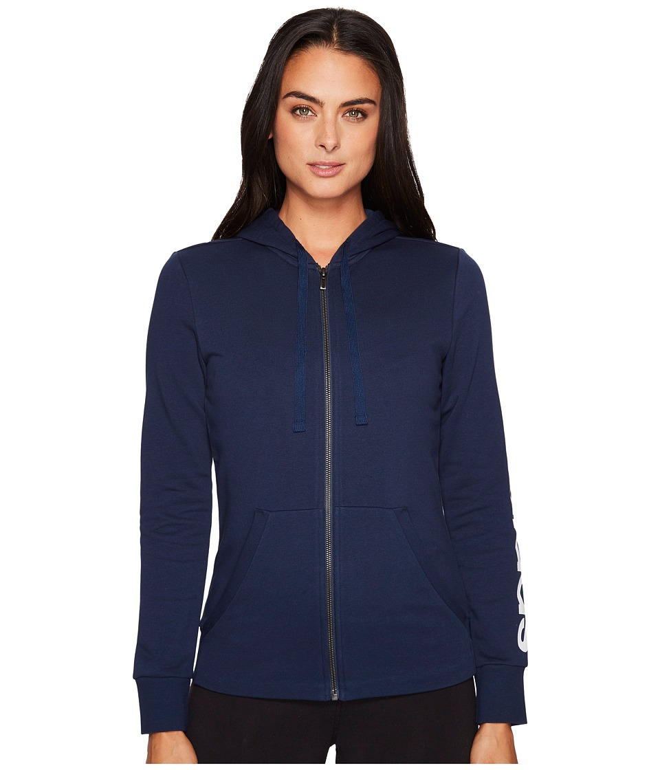 adidas - Essentials Linear Full Zip Hoodie (Collegiate Navy/White) Women's Sweatshirt