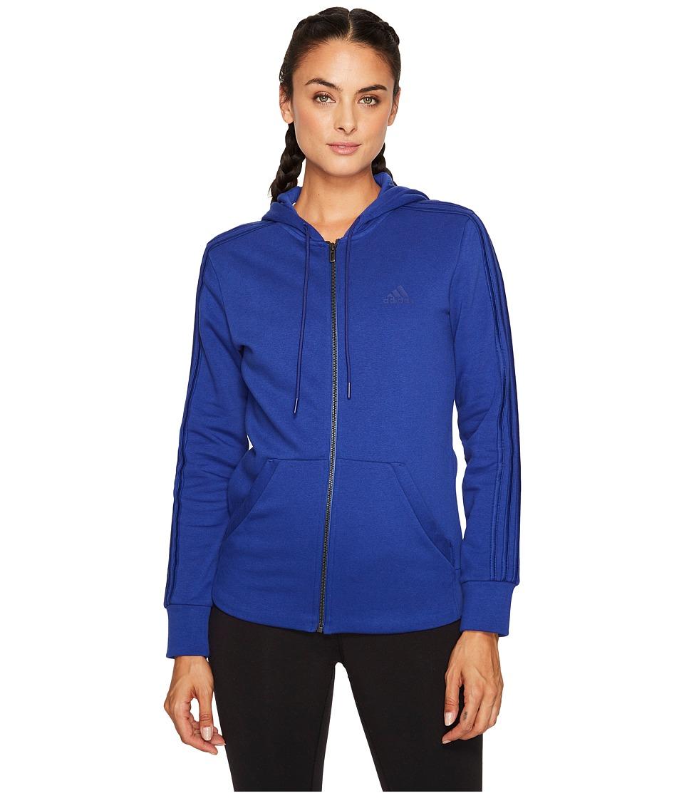 adidas - Essentials Cotton Fleece 3S Full Zip Hoodie (Mystery Ink F17/Mystery Ink F17) Women's Sweatshirt
