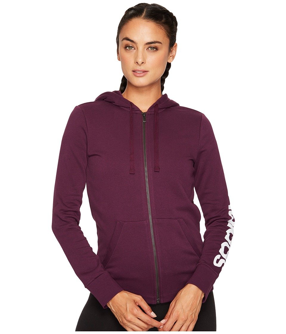 adidas - Essentials Linear Full Zip Hoodie (Red Night F17) Women's Sweatshirt