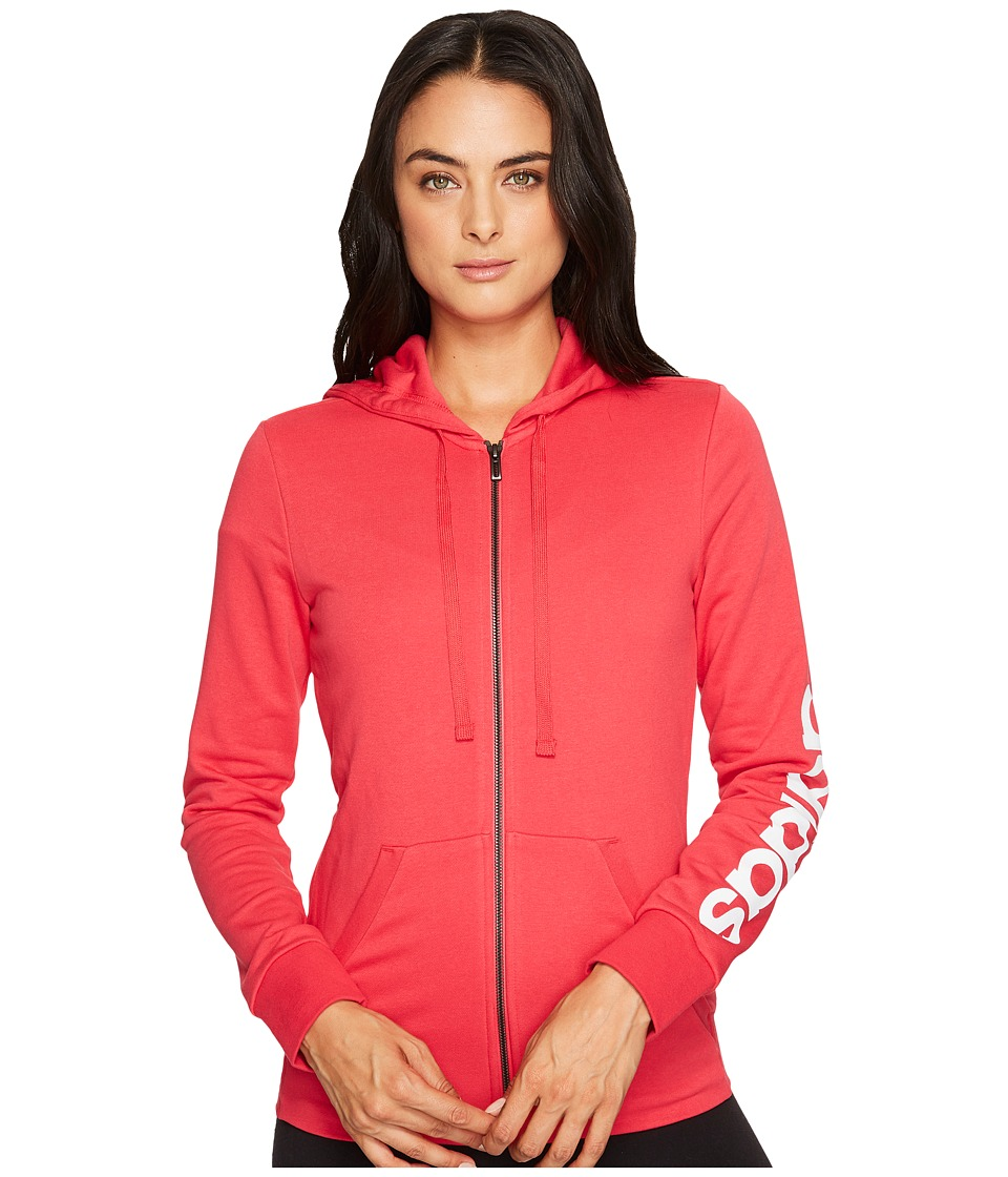 adidas - Essentials Linear Full Zip Hoodie (Energy Pink F17/White) Women's Sweatshirt
