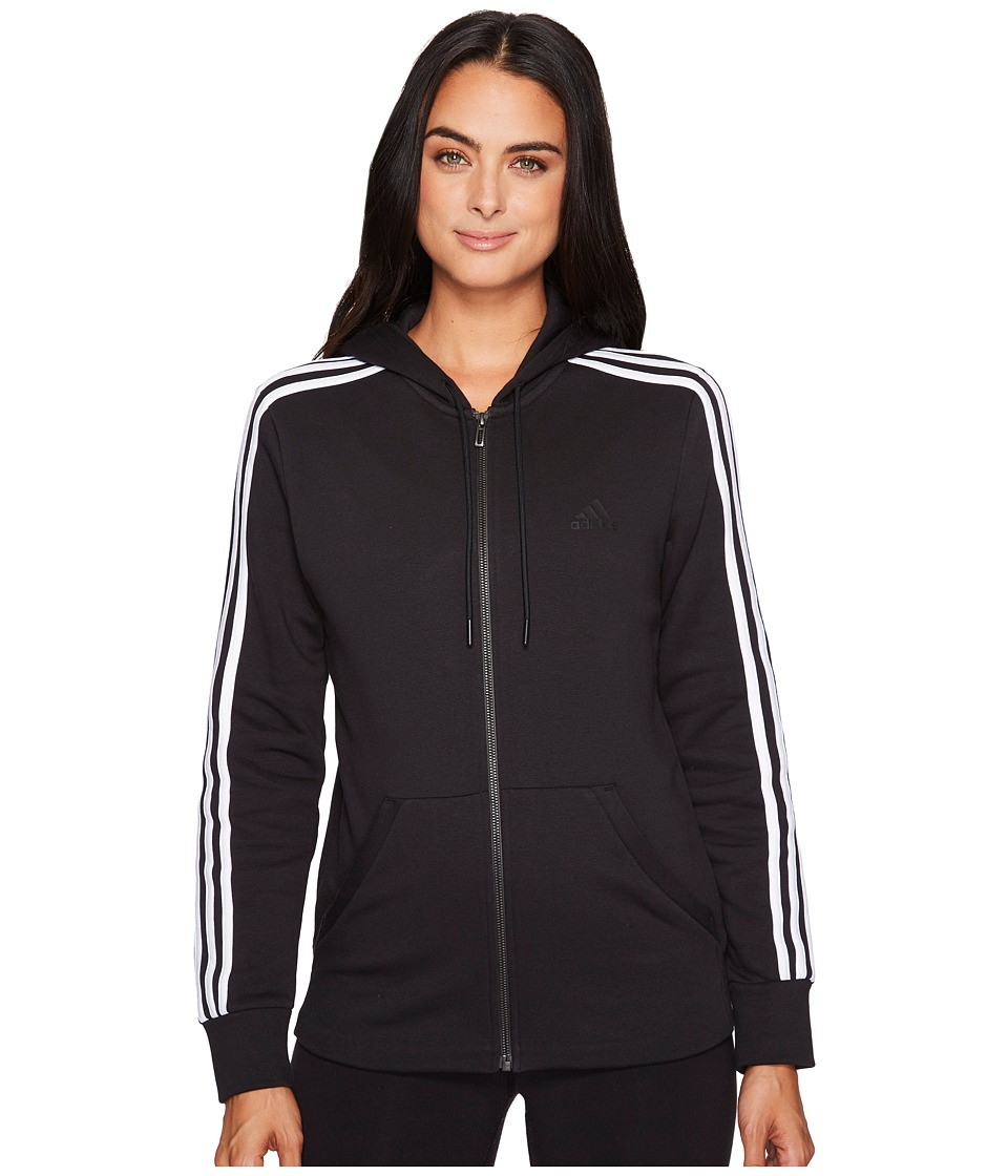 adidas - Essentials Cotton Fleece 3S Full Zip Hoodie (Black/White) Women's Sweatshirt