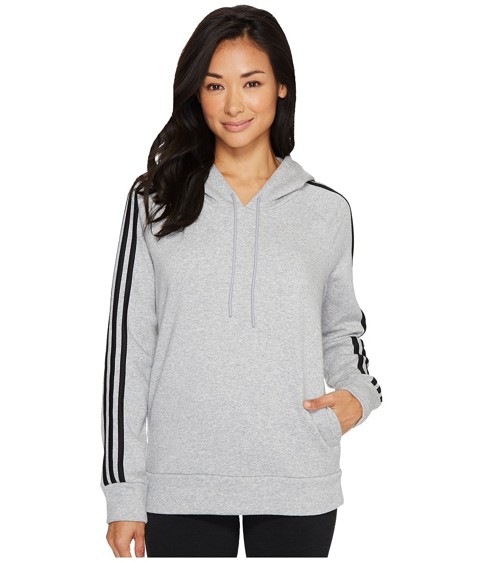 adidas - Essentials Cotton Fleece 3S Over Head Hoodie (Medium Grey Heather/Black) Women's Sweatshirt