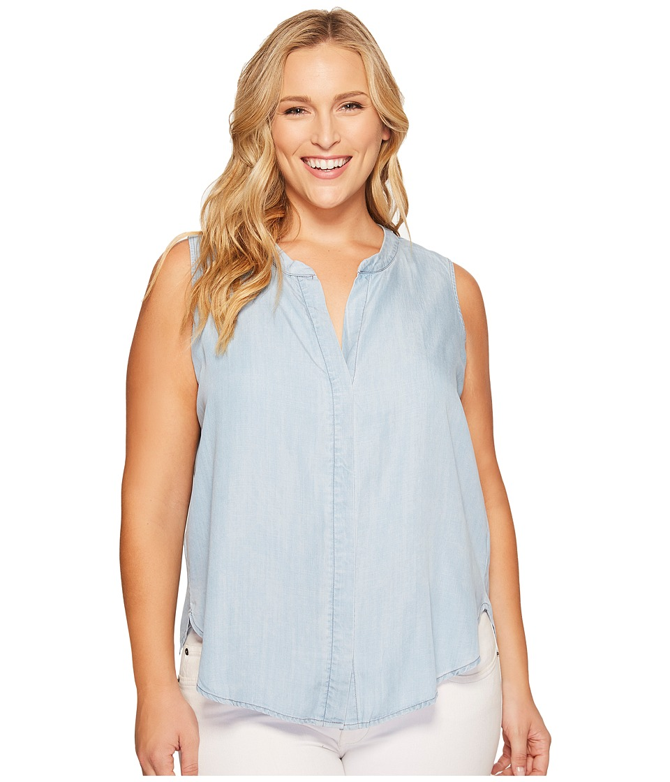 B Collection by Bobeau - Plus Size Fiona Button Back Shirt (Chambray Blue) Women's Sleeveless