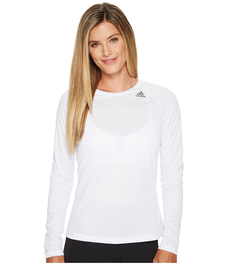 adidas - D2M Long Sleeve Tee (White) Women's T Shirt
