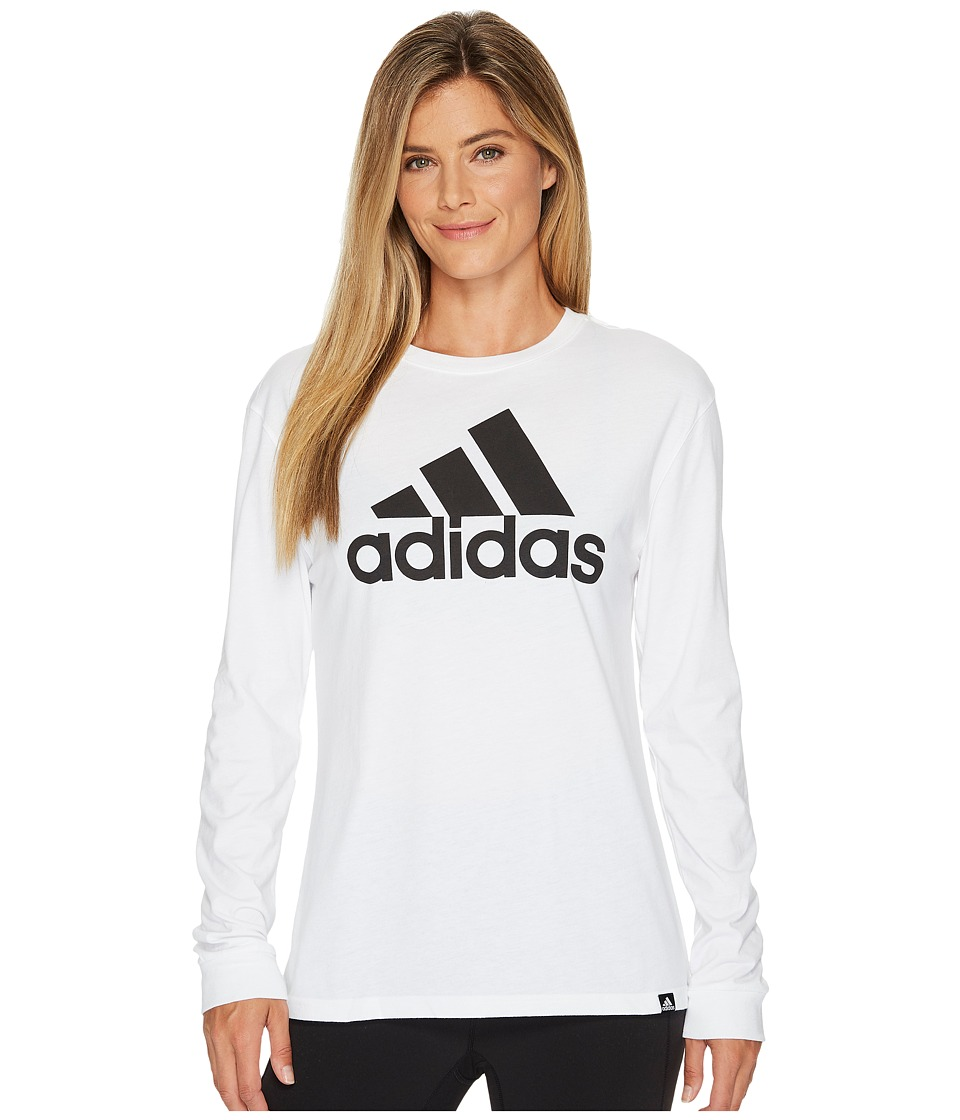 adidas - Badge of Sport Classic Long Sleeve Tee (White/Black) Women's T Shirt