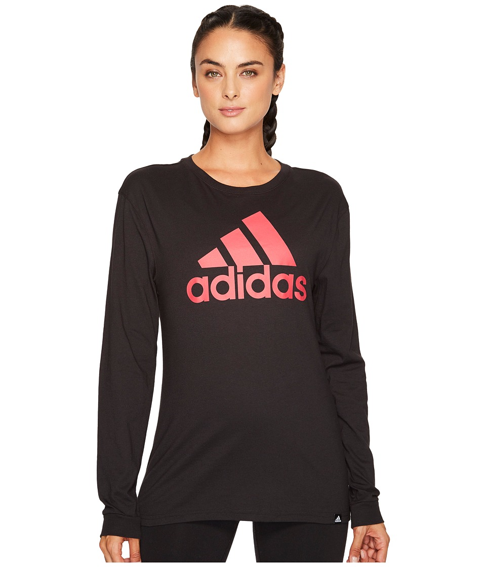 adidas - Badge of Sport Classic Long Sleeve Tee (Black/Energy Pink F17) Women's T Shirt