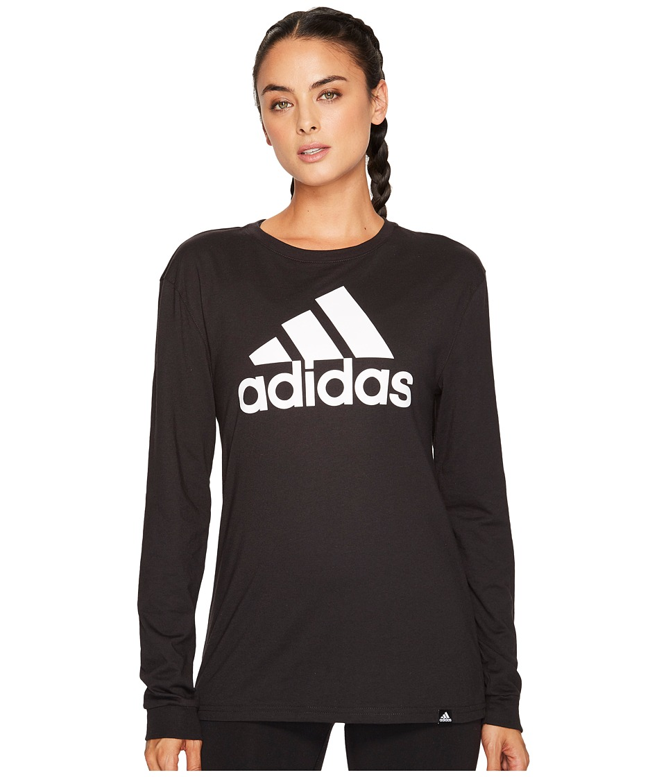 adidas - Badge of Sport Classic Long Sleeve Tee (Black/White) Women's T Shirt