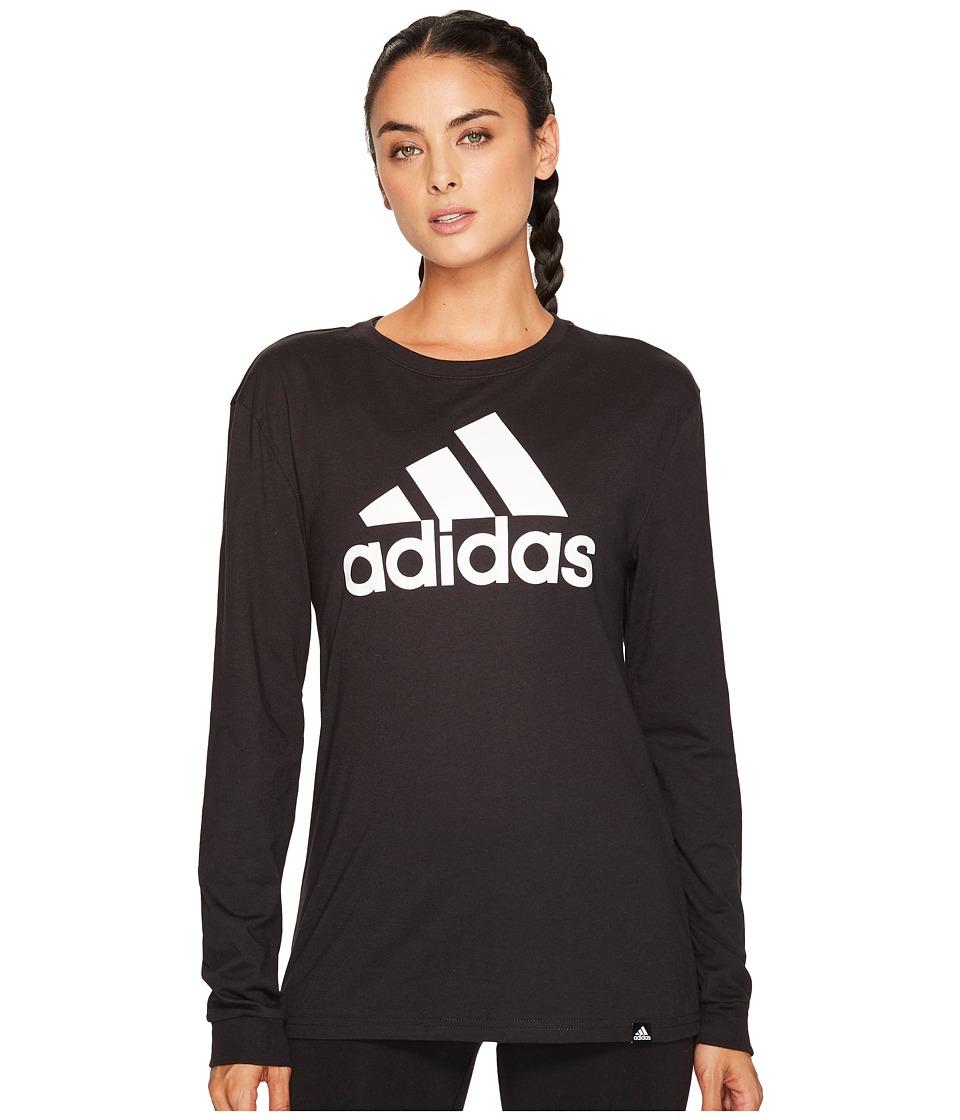 adidas - Badge of Sport Classic Long Sleeve Tee (Black/White) Women's T Shirt