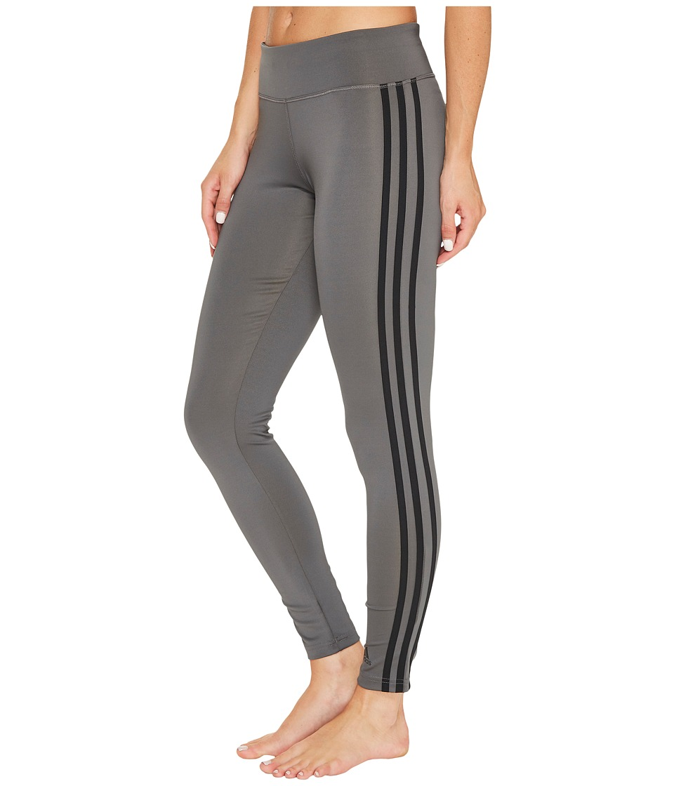 adidas - D2M 3S Long Tights (Grey Five F17/Black) Women's Workout