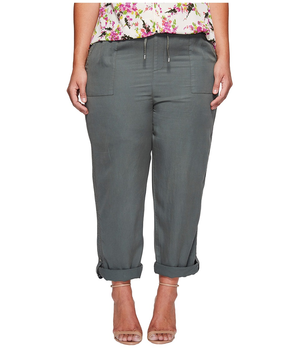 B Collection by Bobeau - Plus Size Magnolia Rolled Tab Crop Pants (Green) Women's Casual Pants