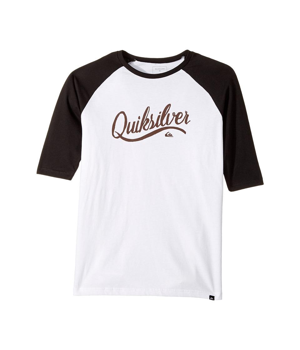 Quiksilver Kids - Sea Scroll Raglan Tee (Big Kids) (White) Boy's T Shirt