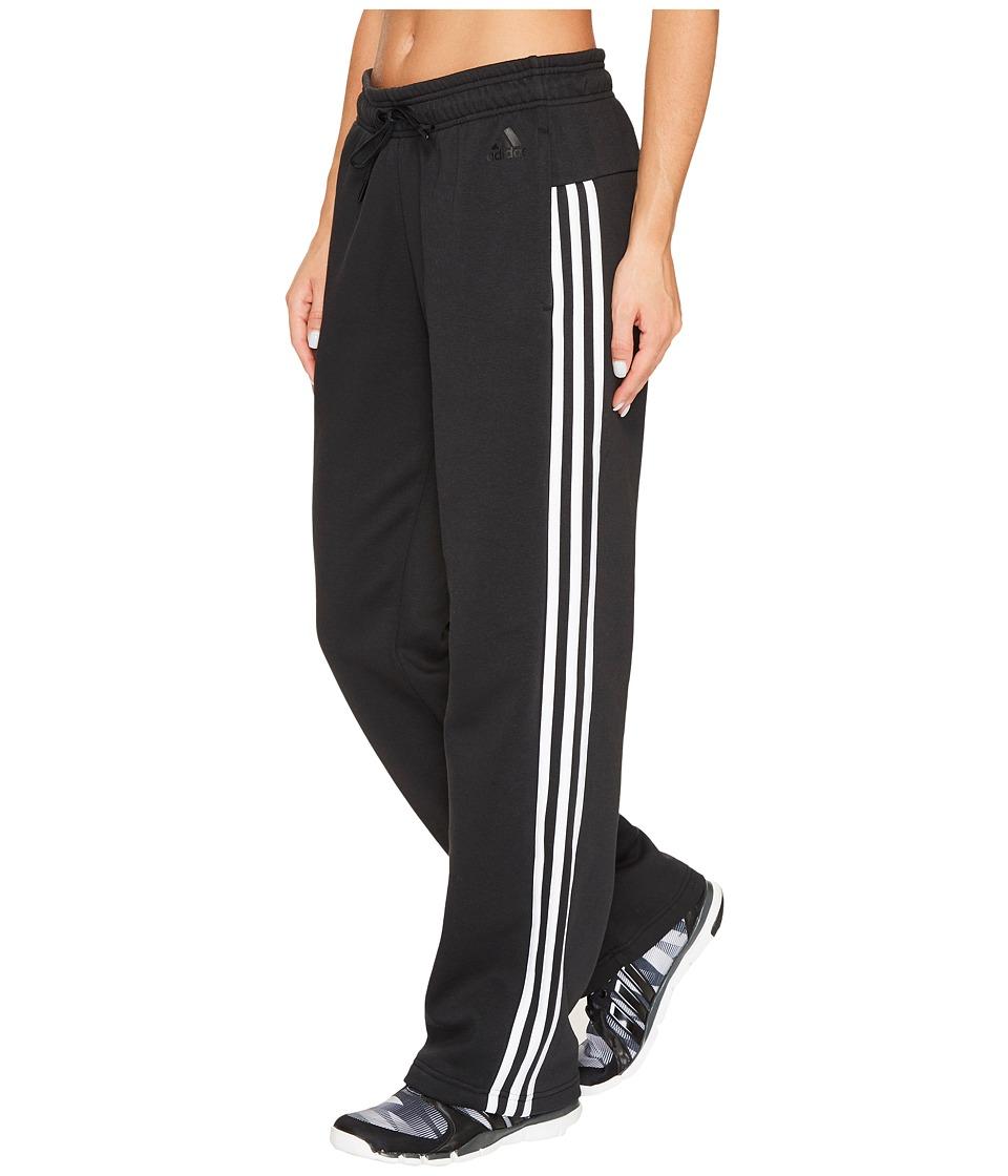 adidas - Essentials Cotton Fleece 3S Open Hem Pants (Black/White) Women's Casual Pants