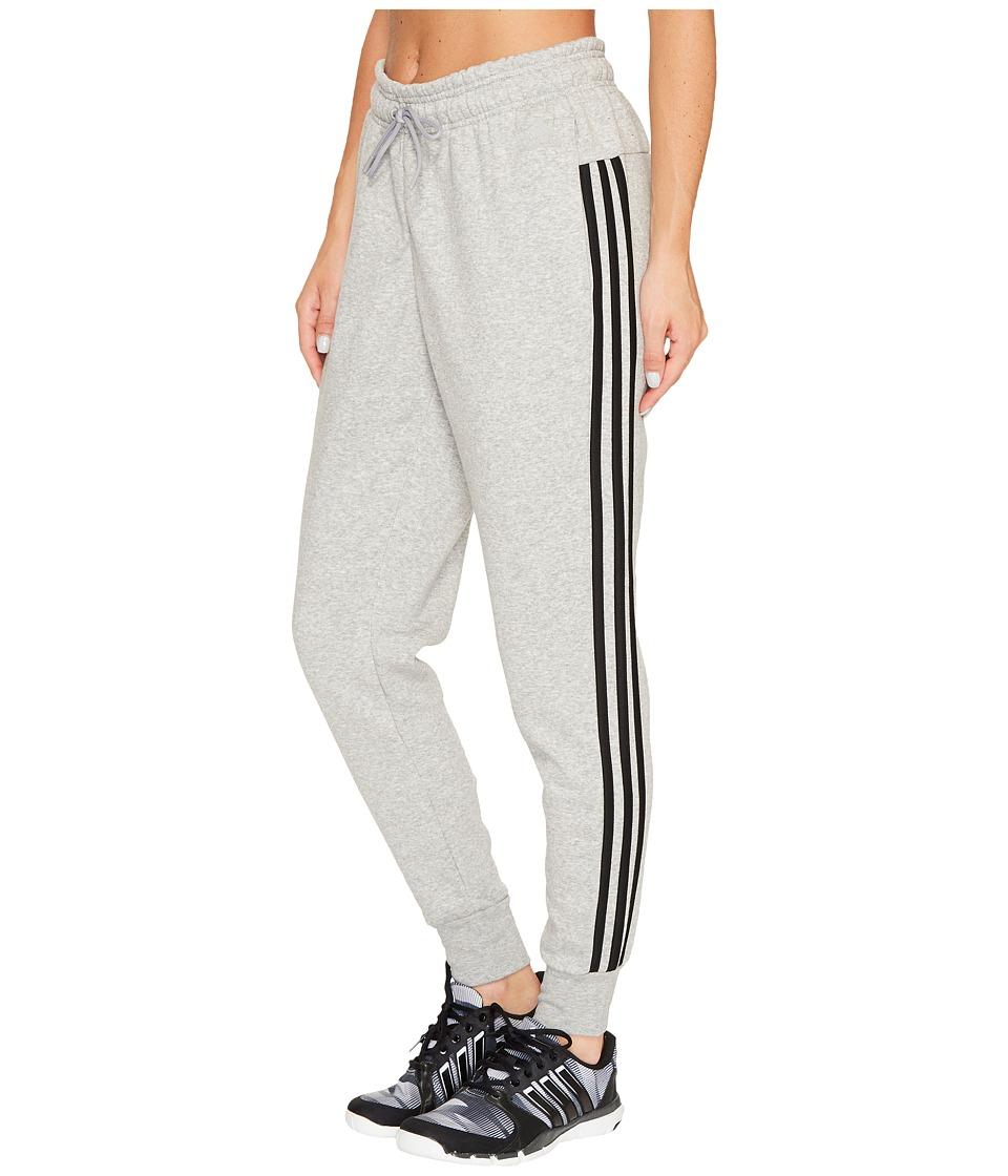 adidas - Essentials Cotton Fleece 3S Jogger (Medium Grey Heather/Black) Women's Casual Pants